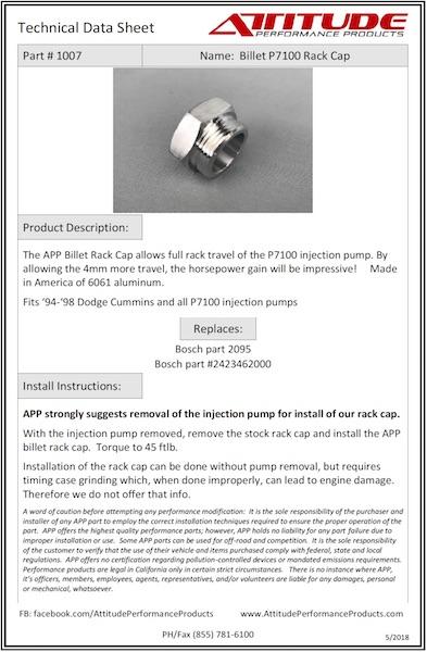 P7100 Rack Cap Tech Sheet