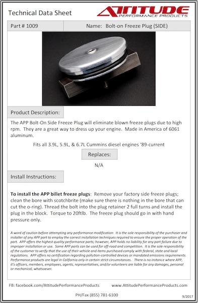 Side Freeze Plug Tech Sheet