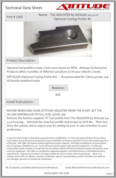 THE ADJUSTER #5 Optional Fuel Profile Tech Sheet