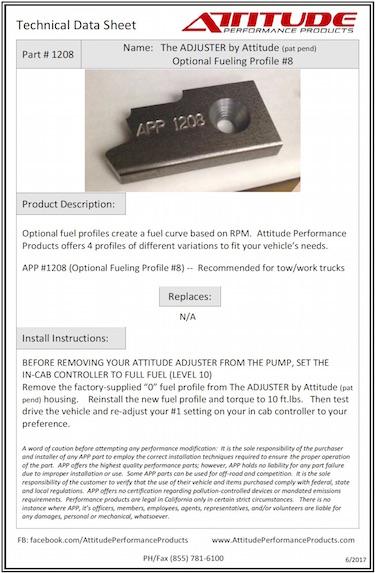 THE ADJUSTER #8 Optional Fuel Profile Tech Sheet