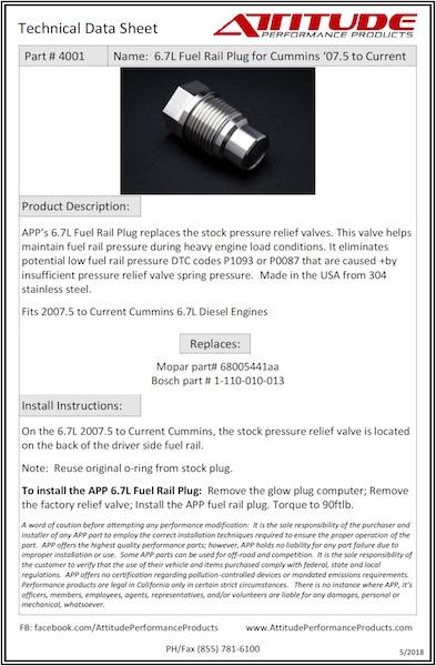 6.6L & 6.7L Fuel Rail Plug Tech Sheet