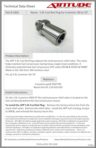 5.9L Fuel Rail Plug Tech Sheet
