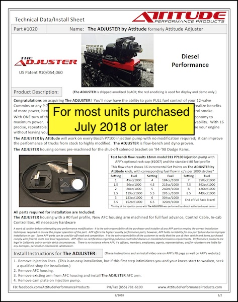 THE ADJUSTER Tech Sheet for most units purchased 7-2018 or later