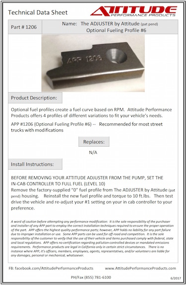 THE ADJUSTER #6 Optional Fuel Profile Tech Sheet