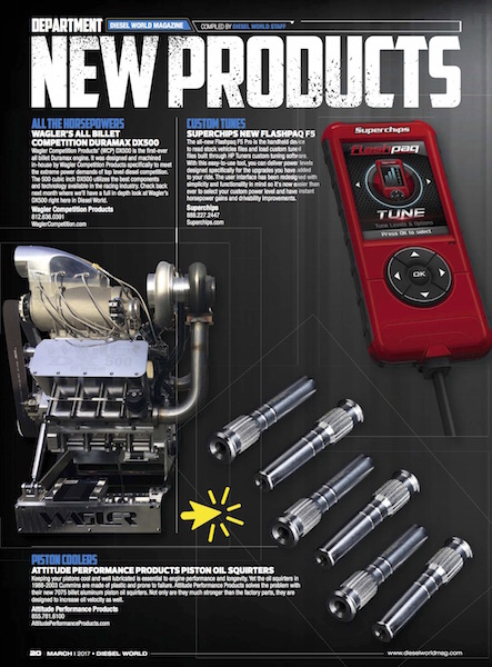 APP Piston Oil Squirters in Diesel World Magazine