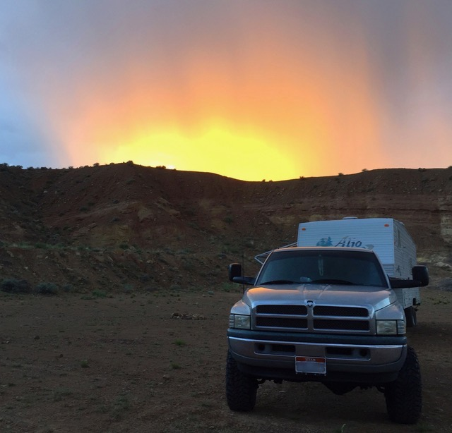 Dodge Truck with The ADJUSTER Sunset