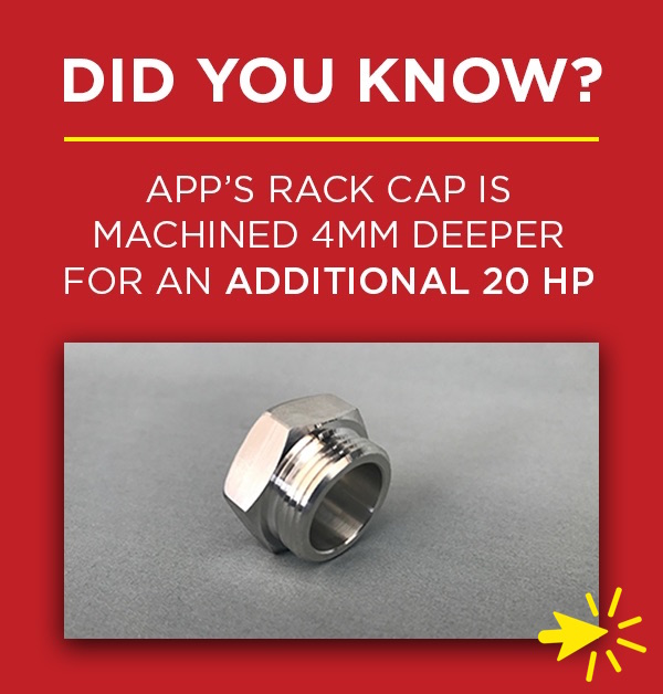 APP's Rack Cap is drilled 4mm deeper