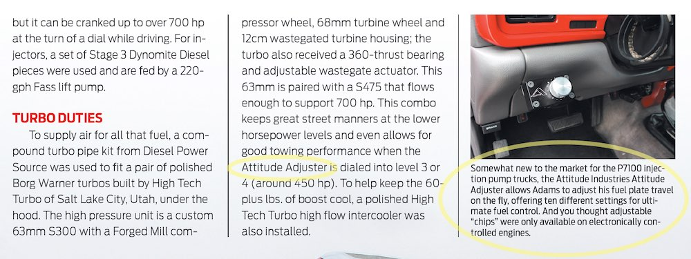 The ADJUSTER in Diesel World Magazine Red Rush Article